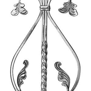 "ALUMINUM DESIGN PICKET W/SCROLLS & LEAVES 39-1/2"" LENGTH"