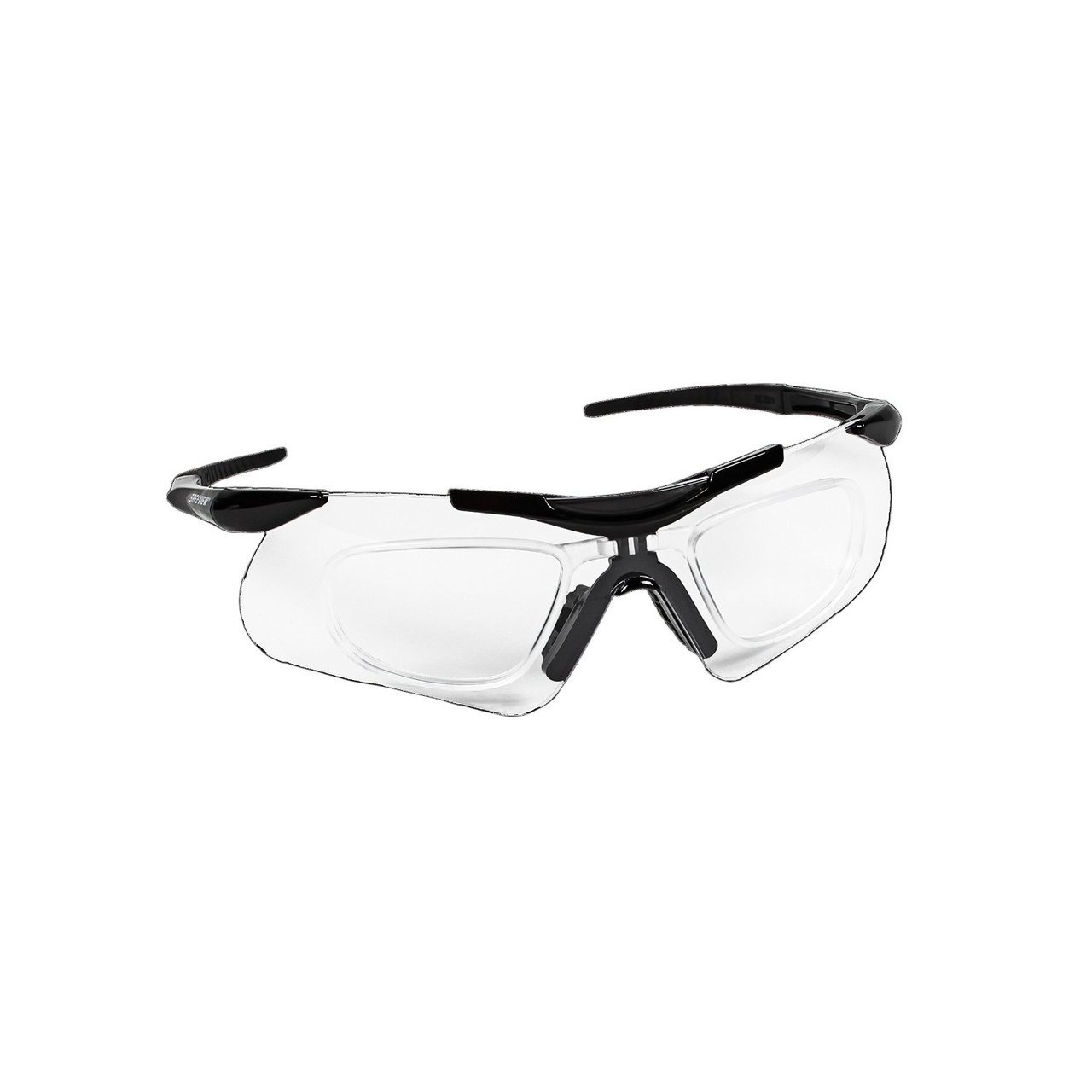 SAFETY GLASSES w/BLACK FRAME & CLEAR LENS