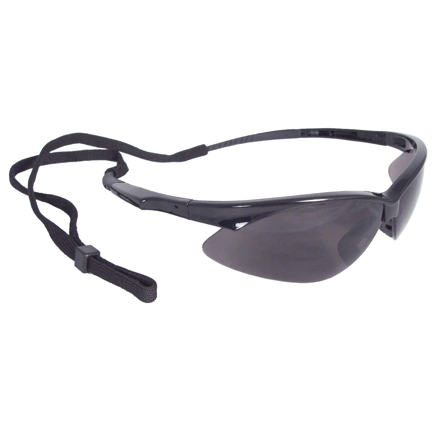 SAFETY GLASSES w/BLACK FRAME & SMOKE LENS