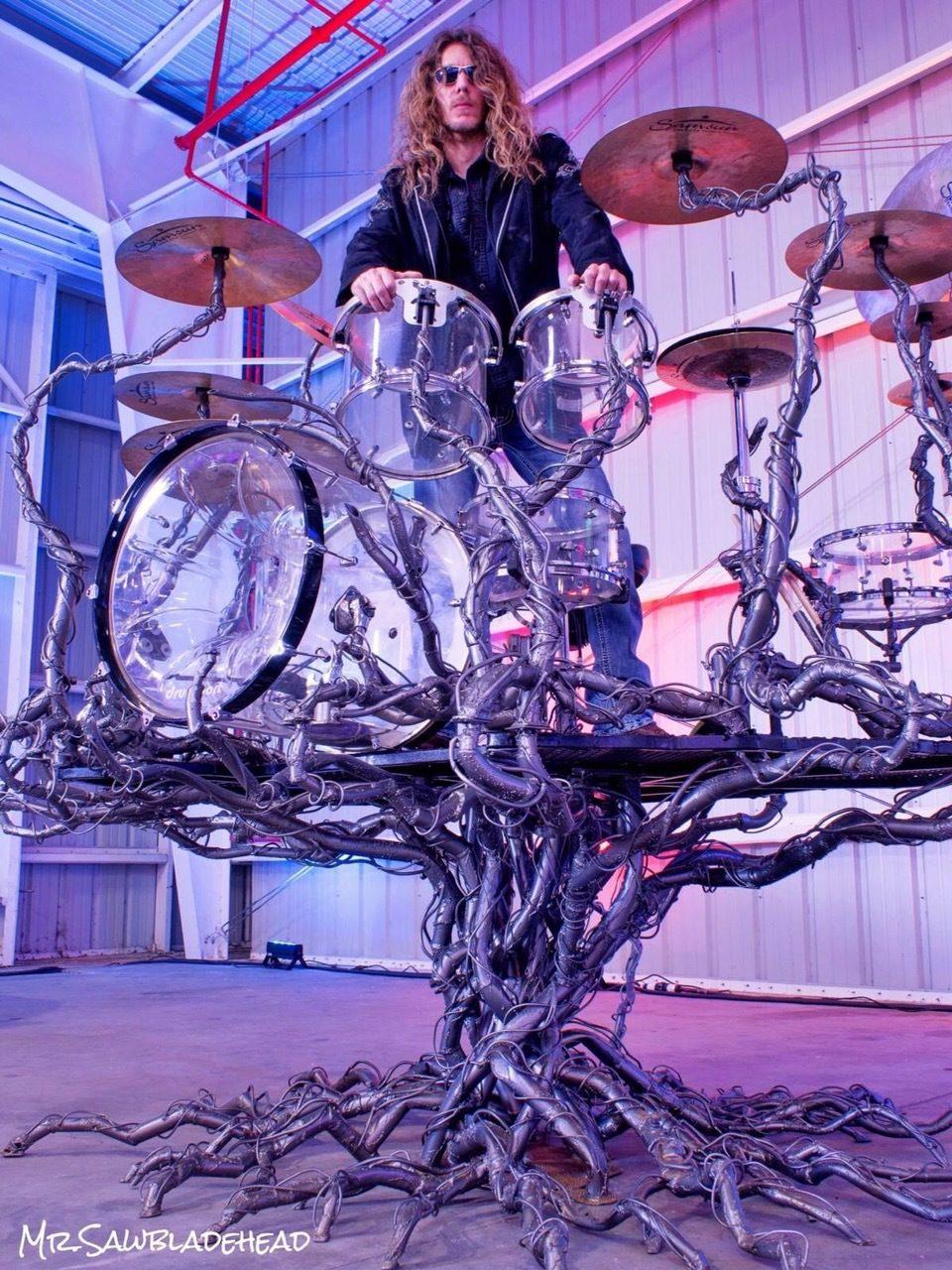 Mr. Sawbladehead Life Tree Drum Sculpture